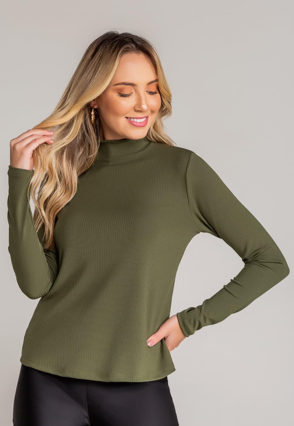 Blusa Basic Gola - Verde Militar