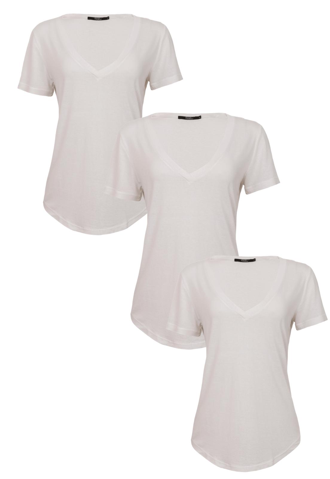 Kit T-shirts 3 Blusas - Branca