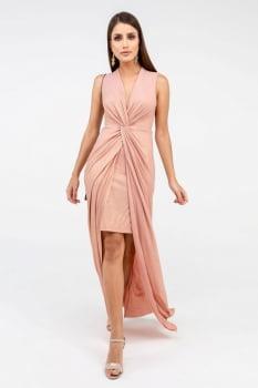 Vestido Rineli Longo Glam - Rosé