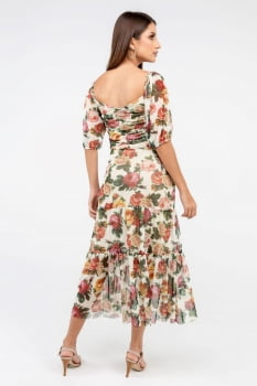 Cropped Rineli Tule Floral - Off