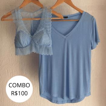 Combo Blusa + Top - Azul Delavê