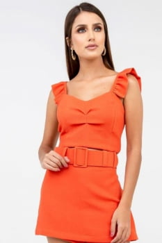 Cropped Rineli Babado - Coral