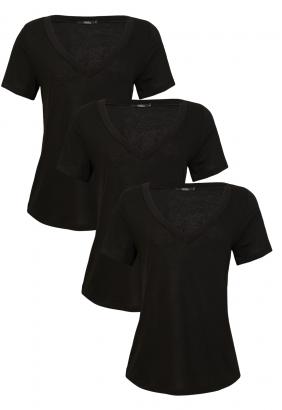 Kit T-shirts 3 Blusas - Preta