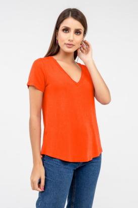 T-Shirt Rineli Ana -  Tangerina Escura