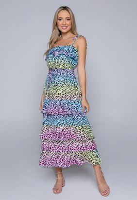 Vestido Rineli Longo Onça Colors
