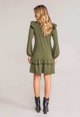 Vestido Vicky Malha Canelado - Verde Militar