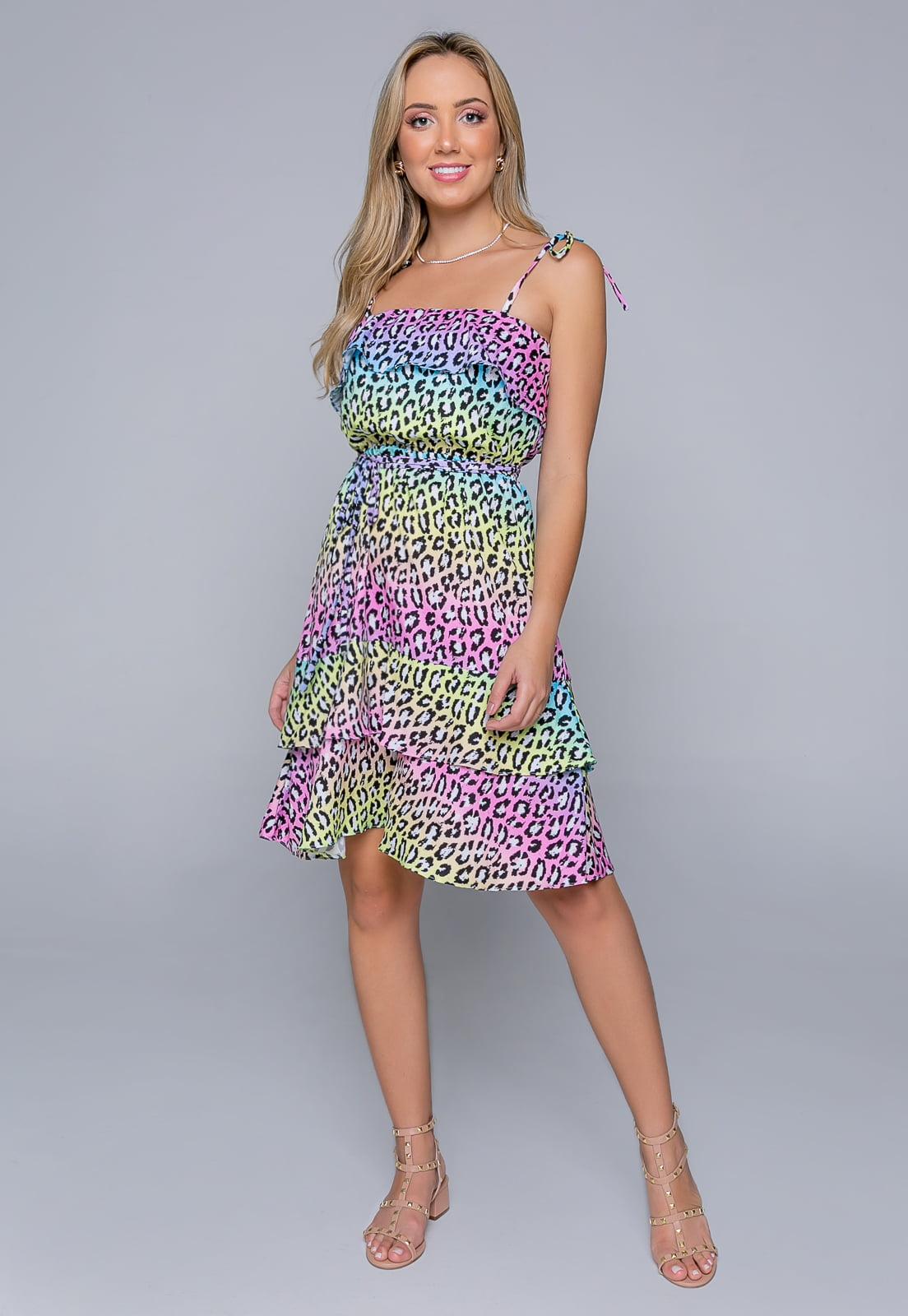Vestido Rineli Curto Onça Colors